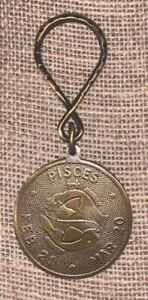 Vintage Zodiac PISCES Keychain Backpack Luggage Zipper Pull Pendant Charm