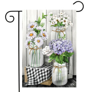 "Checkered Mason Jars Spring Garden Flag Daisies Floral 12.5""x18"" Briarwood Lane"