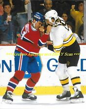 JOHN KORDIC Battles Bruins JAY MILLER 8x10 FIGHT Photo MONTREAL CANADIENS vs BOS
