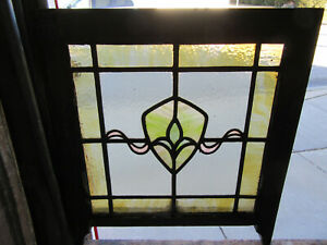 ~ ANTIQUE STAINED GLASS WINDOW 1 OF 2 ~ 22 x 25 ~ ARCHITECTURAL SALVAGE