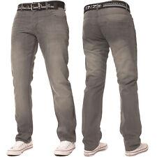 New ENZO Mens Basic Designer Straight Regular Leg Blue Denim Jeans Big Sizes