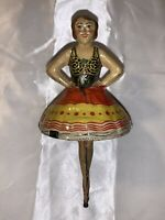 "Vtg. Antique MARX Toy ""Champion Skater"" Ballerina Ballet Spinning Top Tin Litho!"