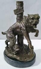 Bronze Dog chained to Post - Solid Marble Base - 33cm High