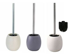 Grey White Sand Stone Effect Ceramic Toilet Brush & Round Holder Bathroom Brush