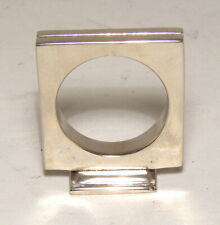 "Napkin Ring Card Holder Table Number Square Circle Cut 2""H Nickel Plated Set/4"