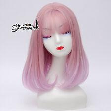 Ombre 40CM Lolita Mixed Pink Bangs Party Women Medium Wavy Cosplay Wig+Wig Cap