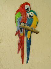 "18"" LOVE PARROTS OUTDOOR TROPICAL HAITIAN  METAL  WALL HANGING TIKI ART DECOR"