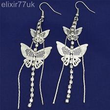 UK Long Silver Butterfly Diamante Crystal Tassel Drop Dangle Chandelier Earrings