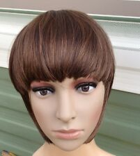 medium chestnut brown clip in on fake fringe bangs hair extension hair piece new