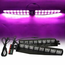 "48W LED 34"" Purple Warn Emergency Strobe Visor Sucker Split Deck Flash Light Bar"