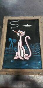 Vintage Pink Panther Black Velvet Smoking Framed Painting Black Light Mcm Tiki