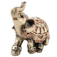 CHENJIEUS Golden Polyresin Elephant Statue Sculpture Trunk Wealth Lucky Collectible Figurine Gift Home Decor Feng Shui Ornament Elephant Decor Elephant Statue Small
