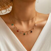 Colorful Candy Crystal Pendant Necklace Choker Clavicle Chain Women Jewellery
