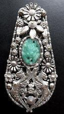 Art Deco Vintage Vidrio Verde De Jade recargado Checa Con Flor Para Clip Broche-A395