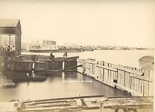 Egypt 1869 - 1870. Dock in Alexandria. People, city. Ship, shipping, sailing.