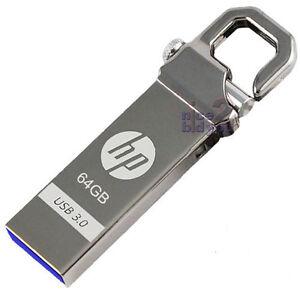HP 64GB x750w USB 3.0 Flash Pen Drive Memory Stick Key Thumb Hook Lock Metal 64G