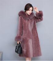 Womens Warm Fur Collar Hooded Jacket Shorn Sheepskin Button Coat Parka Outwear