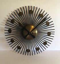 Stunning Vintage Brass Sunburst Wall Clock Key Wind Mid Century Modern W Germany