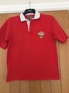 Cotton Traders Men's Welsh Rugby Shirt / Short Sleeve Top Size L Flaw See Pics
