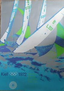 "ORIGINAL VINTAGE 1972 MUNICH OLYMPICS 33x47"" SUBWAY POSTER ~ KIEL SAILING ART ~"