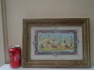 Splendid Persian hand painted panel with hand painted mount & Khatam frame  LOOK