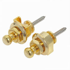 2 Pcs Schaller Style Strap Locks Round Head Guitar Bass Straplocks Gold