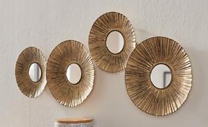 "3D Metall Wand Bild ""Gold"" 4 Blüten mit Spiegel im Antik Look, Schmuck Deko"