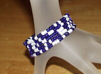 Navy Blue & White Mix Beaded Wrap / Coil Bracelet Glass Beads Memory Wire - USA