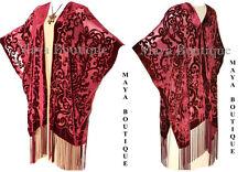 Caftan Kimono Burnout Velvet Art Nouveau Deep Red Maya Matazaro USA Made