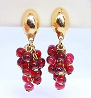 Vintage Czech Garnet glass grape cluster clip earrings.