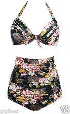 Gigileer Damen High-Waist Blumen Retro  Bademode vintage Rockabilly 50's Bikini