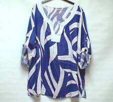 MADE IN ITALY LAGENLOOK Bold Abstract Print ARTY BOHO Quirky Linen Tunic Top 4XL