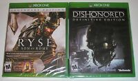 Xbox One Video Game Lot - Dishonored Definitive Edition (New) RYSE Son of Rome