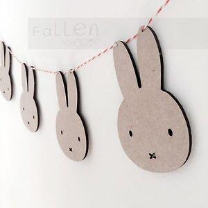 Wooden Bunting Rabbit Bunny Flags Nursery Craft Garland Blanks MDF Wood Shapes