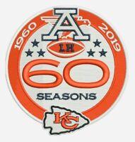 "KANSAS CITY CHIEFS 60TH ANNIVERSARY PATCH 1960 - 2019 SEASON 4"" NFL AFC FOOTBALL"