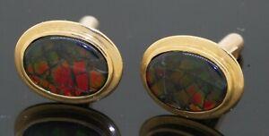 Vintage 18K gold high fashion 14 X 9.8mm micro-mosaic opal oval shaped cufflinks