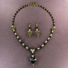SHADOW HEART NECKLACE EARRINGS Lampwork Agate Dark Black Arcane Magic Gold