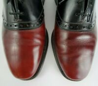 ALLEN EDMONDS Size 9.5 C NARROW Mens Saddle Oxford Dress Shoes Burgundy Black