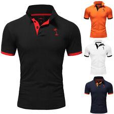 Herren Poloshirt Basic Kontrast Kragen Polo Kurzarm Polohemd T-Shirt NEU
