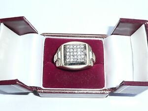 FAB MENS HEAVY SOLID 9CT GOLD 0.75CT DIAMOND GRID SIGNET RING SIZE W 12 GRAMS