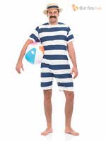 1920s Bathing Suit + Hat Mens Ladies Fancy Dress Adult Beach Swimming Costume