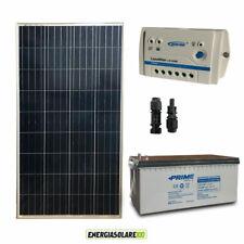 Kit Starter Plus Pannello Solare 150W 12V Batteria AGM 200Ah  Regolatore PWM 10A
