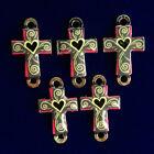 5Pcs+Carved+Tibetan+Silver+Dripping+Oil+Cross+Pendant+Bead+24x15x2mm+F92339