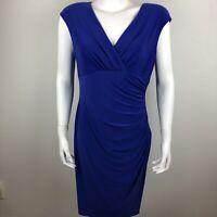 Lauren Ralph Lauren Womens Dress 12 Ruched V-neck Sheath Cap Sleeve Purple