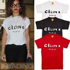 bf159aaecbfd7e Celine Paris T Shirt Celebrity Fashion Top New Black Womens Celine Tumblr  Summer
