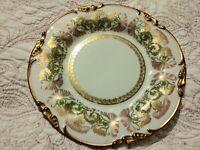 "Jean Pouyat Limoges French Gold Gilt 8.5"" Plate Art Nouveau Thistle POY1 1908 #2"