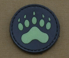 """PVC / Rubber Glow in the Dark Patch """"Bear Footprint"""" with VELCRO® brand hook"""