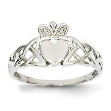 14k Solid White Gold Mens Claddagh Ring Size 9.5