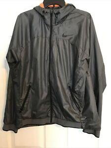 Nike Dri-Fit Gray Full Zip Hooded Jacket Orange Inside