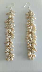 Sterling Silver Pale Pink Seed Pearl Long Cluster Dangle Earrings